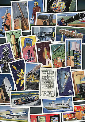"""GEORGE PAYNE G.P TEA 1963 SET OF 25 """"SCIENCE IN THE 20th CENTURY"""" TRADE CARDS"""