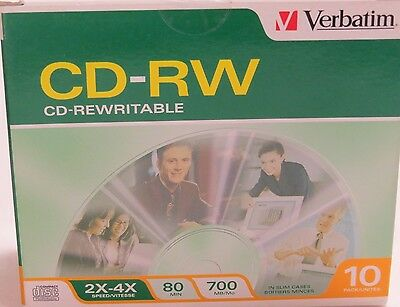Lot of 3 Packages Verbatim CD-RW Discs, 700MB/80min, 2X/4X, Slim Jewel Case