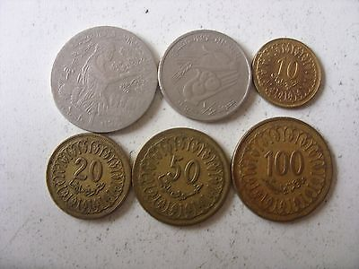 Lot Of 6 Tunisia Coins 20 Millimes-1 Dinar 1960-2005 Interesting