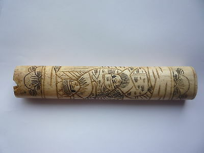 Antique/Old Oriental Chinese Japanese Bone Carved Tool Handle