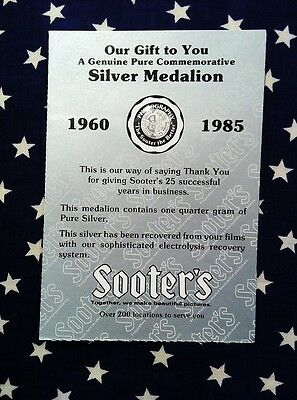 1960 1985 SOOTER'S SILVER MEDAL Medalion Recovered From Photography Process