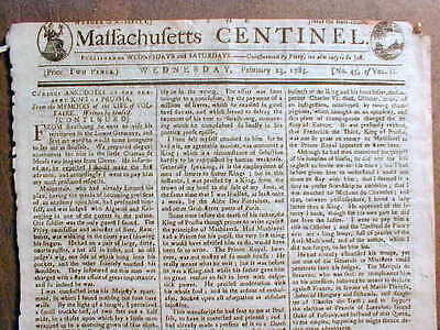 Original 1785 MASSACHUSETTS CENTINEL newspaper B4 GEORGE WASHINGTON as PRESIDENT