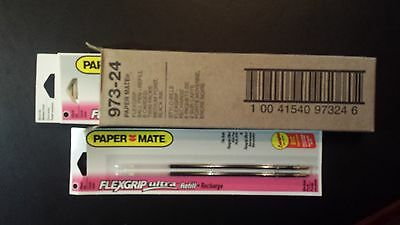 12 Papermate Black Medium Ball pen refills, 973-24