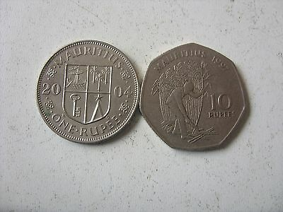 1 And 10 Rupees 1997/2004 Mauritius Interesting