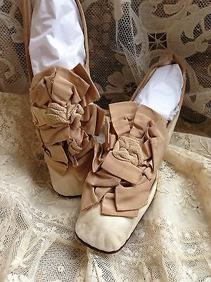 Beautiful Antique 1860s Victorian Kid Leather Large Ribbon Rosette Shoes