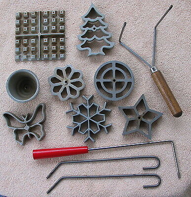 Vintage hand-held 8-piece pizelle cookie waffle Christmas butterfly star molds