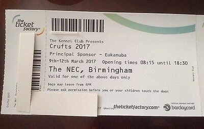 Crufts Tickets X2 Valid 9th - 12th March 2017