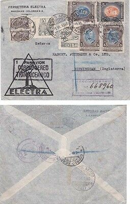 Colombia 1945 Registered cover A.M from Manizales to England.