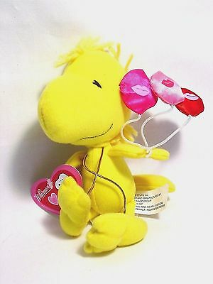 """Peanuts Collectible Cute Woodstock Valentine's Plush 3 Kiss Balloons 7"""" Tags NEW"""
