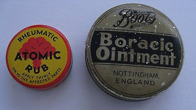 2 Vintage Advertising Tins Boots Boracic Ointment + Atomic Rub