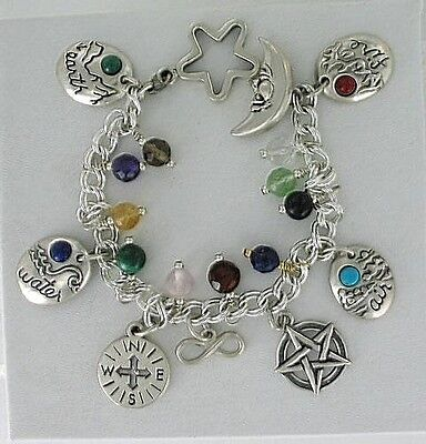 """Sterling Silver, """"hidden reality"""" Kabalistic or Tree of Life Charm Bracelet, New"""