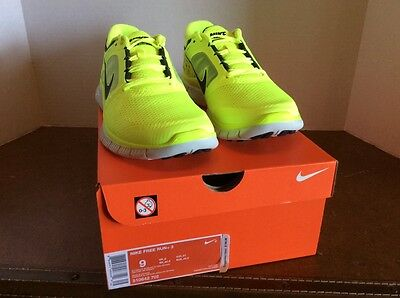 Men's Nike Free Run+ 3 shoes in volt yellow size 9