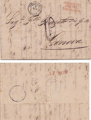 Turkey 1852 Letter sheet from Constantinople rted 10 to Genoa, Italy