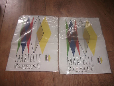 2 x Vintage (Size 8½-9) 1960's Martelle Stretch Stockings