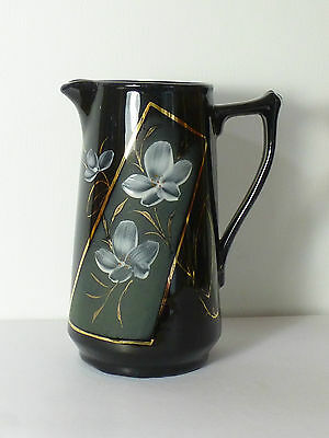 Nice Victorian Black Jug With White & Gold Floral Decoration