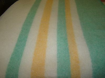 vintage ayers  100% wool blanket canada 64 x 78 gold green striped ends ivory