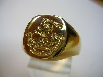 New 9ct Gold DUKE OF WELLINGTON'S REGT Seal Style Signet Ring. Excellent Quality
