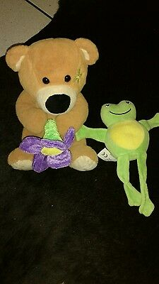 Teddy with purple flower & frog rattle soft toy bundle
