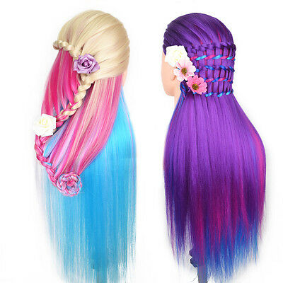 Colored New Hairdress Salon Cosmetology Training Doll Head Hair Mannequin+Clamp