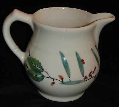 "Hearthstone USA Pottery Milk Water Pitcher Woodland leaves and berries 6"" 32oz"