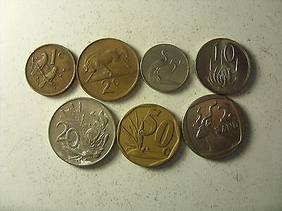 Lot Of 7 South Africa Coins 1 Cent - 2 Rand 1965-1996(Old  Type  ) Rare!!!
