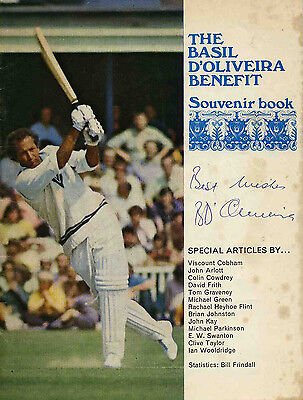 Basil D'Oliveira Autograph on Souvenir Book Cover