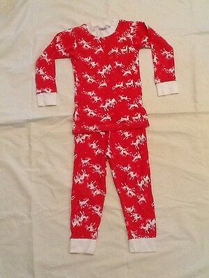 Childs Christmas Reindeer Pajamas.  Size 4 Red and White 2 Piece