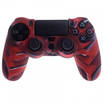 Case Skin Cover Custodia Silicone Controller Ps4 Playstation 4 Rosso Camouflage