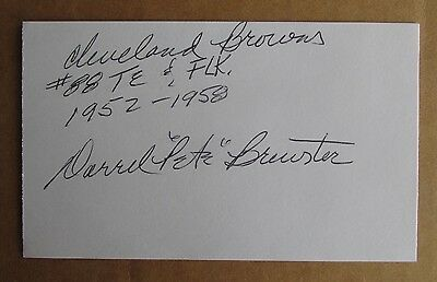 "Darrell ""pete"" Brewster Signed Autograph 3X5 Index Card Nfl 2X Pro Bowl Browns"