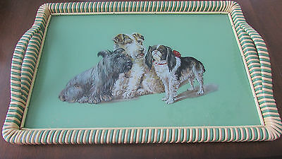 Vintage Germain Serving Tray Reverse Painting On Glass - Dogs