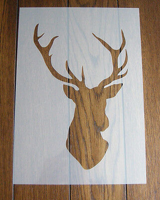 Stag's Head Stencil + Positive Mask Reusable Mylar Sheet for Arts & Crafts, DIY
