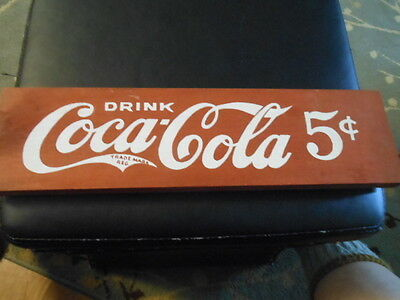 OLD  5 CENT Wooden coke sign red/ white small Coca-Cola trade mark