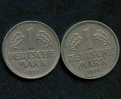 2 of Germany 1950 'F' 1 Mark Coins