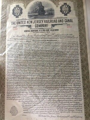 United New Jersey Railroad & Canal Company Bond Certificate