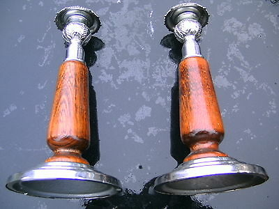 """PAIR OF CHROME CANDLESTICKS  WITH  HARDWOOD STEMS--- 20cm TALL or 8"""""""