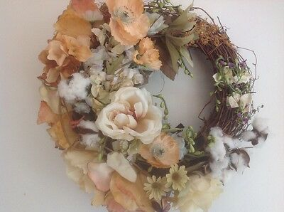 Front Door Wreath, Farmhouse Country Cottage Wreath, Southern Cottonberry.