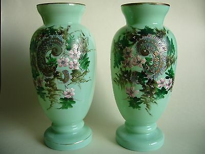 """Pair Antique Victorian Green Glass Enameled Vases Floral Decoration 10"""""""