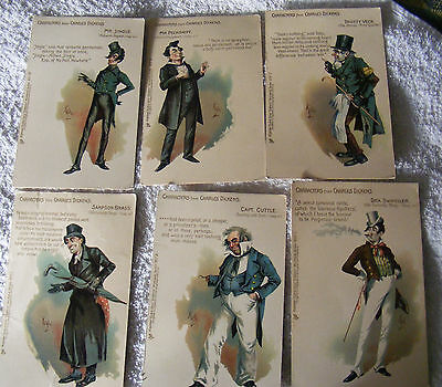 Tuck's Dickens Character Postcards by Kyd x 6