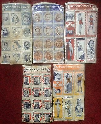 Hollywood Stamps Of The Stars 1947 Original 5 Packets Very Rare