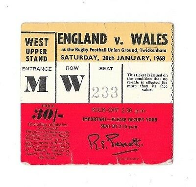1968 - England v Wales, Five Nations Match Ticket.