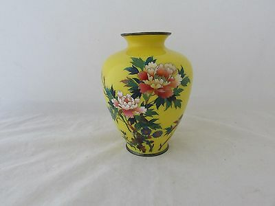 Antique Imperial Yellow Japanese Cloisonne Vase With Silver Mounts