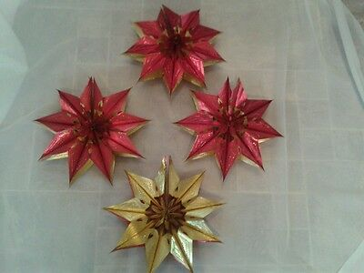 4, Vintage, Red And Gold, Foil, Garlands, Christmas Decorations Excellent