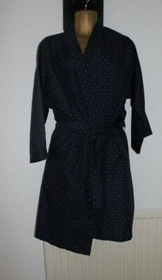 Mens Vintage Poly Paisley Dressing Gown/ Robe Blue Size L