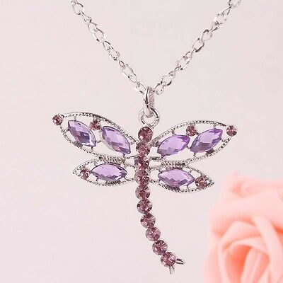 Women Fashion New charm alloy Austrian Crystal dragonfly Pendant Necklace B238
