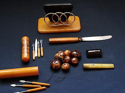 LOT VINTAGE BAKELITE CATALIN BEADS BOXES TOOLS AND OTHER RARE FOR PARTS No.Z