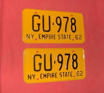 1962 New York License Plates  for Ford Chevy Dodge Buick Cadillac Olds  Pontiac