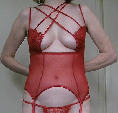 Stunning! - Red - See-through - Lace - One Piece - Suspender Body - Size 34