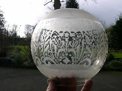 Victorian Etched Frosted Glass Oil Lamp Globe Shade To Suit Duplex , 4 Inch Base