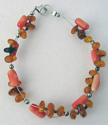 925 Sterling Silver Baltic Amber and Coral Bracelet, Silver Bead Spacers on Wire