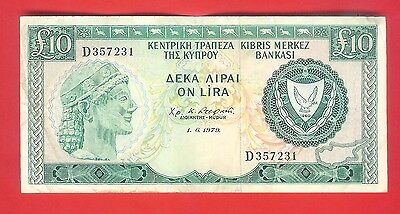 10 CYPRUS POUNDS 1979 - Circulated.